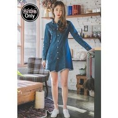 Chlo.D.Manon - Fray-Hem Buttoned Denim A-Line Dress