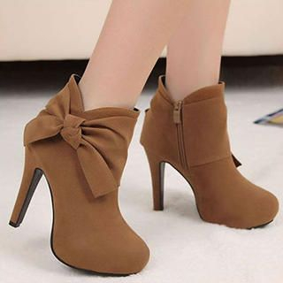 Mancienne - Bow-Accent High-Heel Ankle Boots