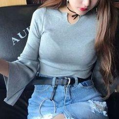 Cloud Nine - Split-neck Bell-Sleeve Knit Top