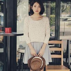 Tokyo Fashion - Flower Overlay Pleated Dress