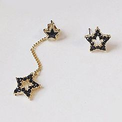 True Glam - Rhinestone Star Non-Matching Earrings