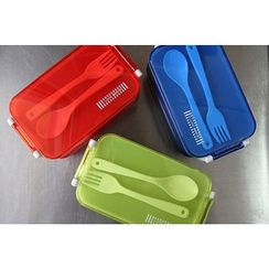 KIITOS - Set: Transparent Lunchbox + Spoon + Fork