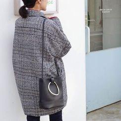 mimi&didi - Double-Breasted Plaid Wool Blend Coat