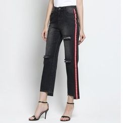 TYZEE - Contrast Trim Distressed Straight Leg Jeans