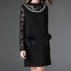 Mythmax - Lace-Panel Long-Sleeve Dress