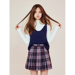 icecream12 - Inset Shorts Plaid Mini Pleat Skirt