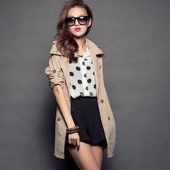 CUTIE FASHION - Tab-Sleeve Double-Breasted Trench Coat