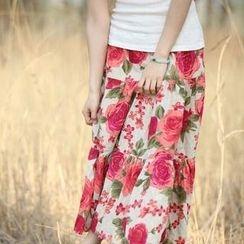 Floral Elegance - Floral Print Maxi Skirt