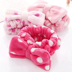 Home Simply - Dotted Fleece Bow Headband