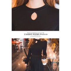 migunstyle - Round-Neck Cutout-Front Top