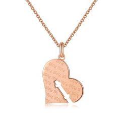 MBLife.com - 925 純銀鍍紅色心形鑰匙孔項鍊