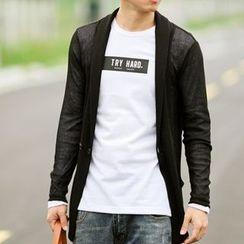 SeventyAge - 微透光细针织素面中长版罩衫外套