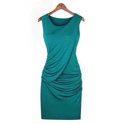 Eloqueen - Sleeveless Ruching Sheath Dress