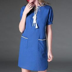 Mythmax - Short-Sleeve Tasseled Dress