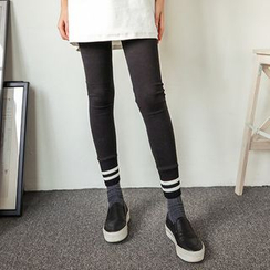 Seoul Fashion - Contrast-Trim Ribbed Hem Leggings