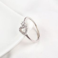 Zundiao - Sterling Silver Heart Rhinestone Ring