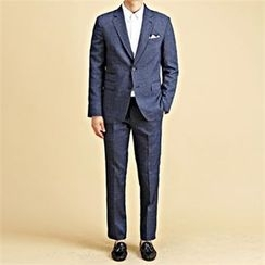THE COVER - Set: Coin-Pocket Mélange Blazer + Tapered Dress Pants