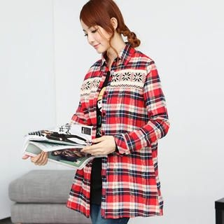 eFashion - Snowflake Knit-Panel Plaid Shirt