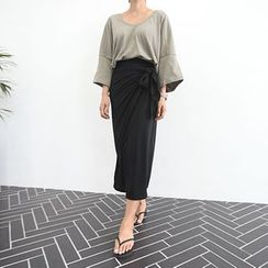 STYLEBYYAM - Tie-Front Long Skirt