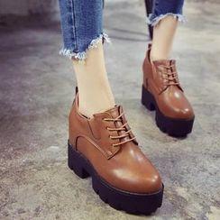 IYATO - 厚底粗跟内增高牛津鞋