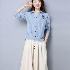 Labbara - 套裝:百褶下擺襯衫 + 闊腿褲