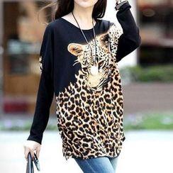 Dream Girl - Long-Sleeve Leopard Tunic