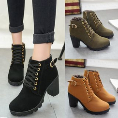 Yoflap - Lace Up Chunky Heel Shoes