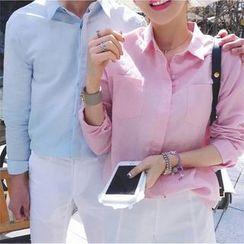 Evolu Fashion - Couple Matching Plain Pocketed Shirt