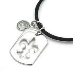 Bellini - Green Amethyst and 925 Silver Fleur-de-Lis Cutout Tag Pendants