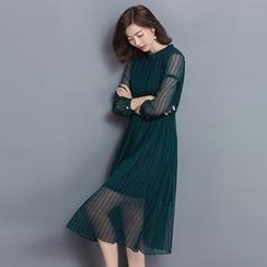 Ebbie - Striped Long Sleeve Midi Chiffon Dress