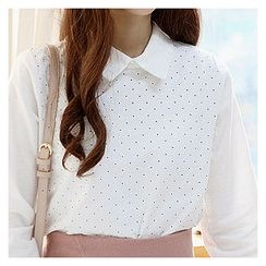 Sechuna - Long-Sleeve Polka-Dot Top