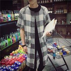 Bay Go Mall - Check Short-Sleeve Light Jacket