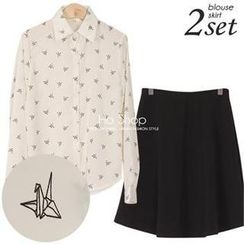 Ho Shop - Set: Bird Printed Blouse + Band-Waist A-Line Midi Skirt