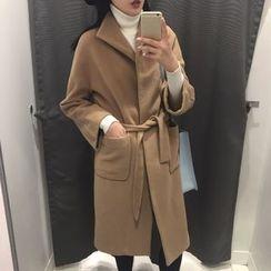 Dute - Open Front Coat with Sash