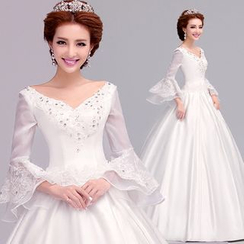 Angel Bridal - Bell-Sleeve A-Line Wedding Dress