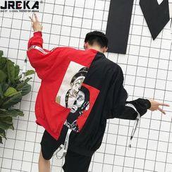 Jacka - Printed-Back Colorblock Light Jacket