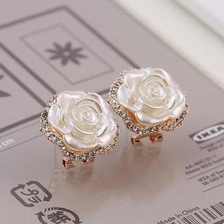 Love Generation - Rhinestone Rose Earrings