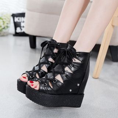 Wello - Lace-Up Platform Wedge Sandals