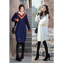 DEEPNY - Contrast-Trim Knit Dress