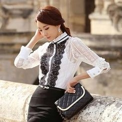 Styleonme - Frilled Contrast Bib Sheer Lace Blouse