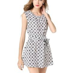 LIVA GIRL - Patterned Sleeveless Chiffon Dress