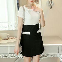 Q.C.T - 雙色調短袖連衣裙