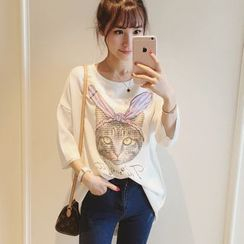 Colorful Shop - Elbow-Sleeve Printed Long Top