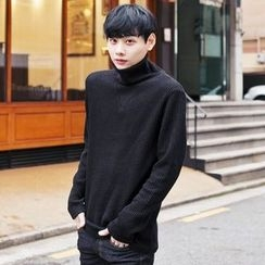 TOMONARI - Turtle-Neck Rib-Knit Top