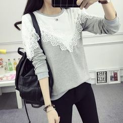Sienne - Lace Panel Long-Sleeve T-Shirt