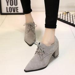 BAYO - 粗跟尖頭繫帶鞋