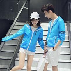 Evolu Fashion - Lettering Couple Matching Light Zip Jacket
