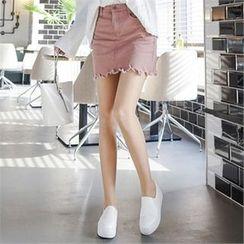 Babi n Pumkin - Inset Shorts Fray-Hem Mini Skirt