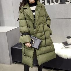 Honeydew - Notch Lapel Long Padded Coat
