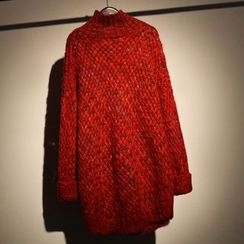 somniaa - 高領粗針織長款毛衣